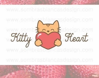 OOAK Premade Logo Design - Kitty Heart - Perfect for a pet accessories shop or a vet clinic