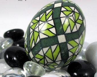 Pysanky Pisanki Ukrainian Polish Easter Egg Green Quilt Hand Decorated Chicken Egg
