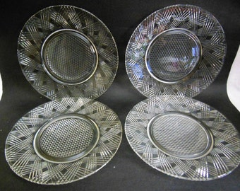 "Starlight by Hazel Atlas 8 1/2"" clear Luncheon Plates set of 4 offers considered"