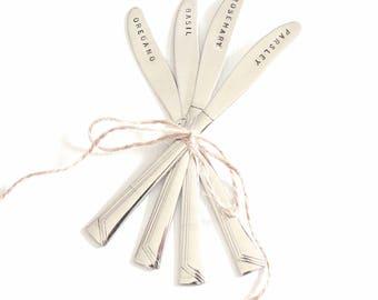 Garden Markers, Herb Garden Markers, 4 Custom Plant Labels - Gifts for Gardeners