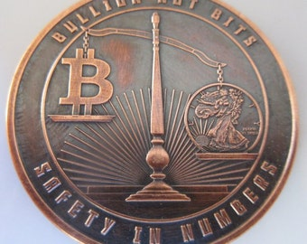 Bullion Not Bits 1 oz .999 Pure Copper Challenge Coin with Black Patina