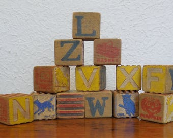 Vintage Toy Wood Alphabet Blocks Lot of 13