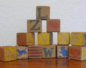 Vintage Toy Wood Alphabet Blocks Lot of 13