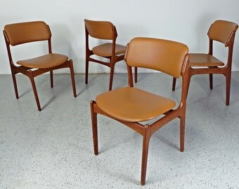 set 4 mid century Danish modern teak Erik Buck O.D. Mobler cognac brown tan dining chairs