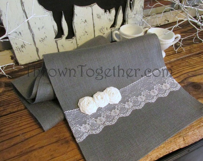 Grey Burlap & Lace Table Runner, Rustic Wedding Runner, Farmhouse Kitchen, Wedding Table Decor, Rustic Farmhouse Decor, Gray Table Runner