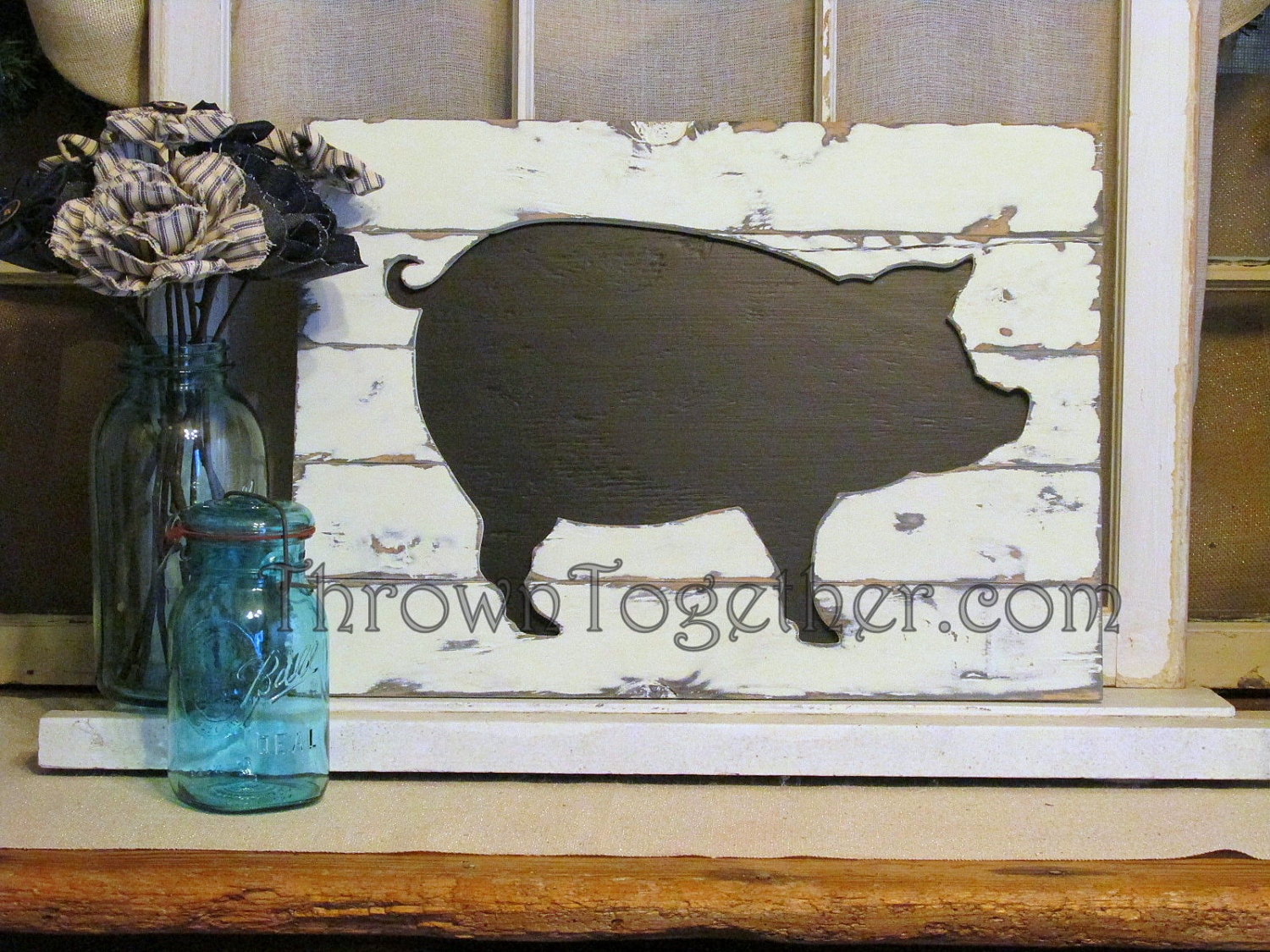 Rustic farmhouse pig wall hanging handcrafted wood pig for Pig decorations for home