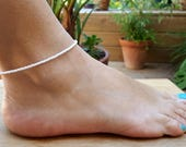 white anklet beach seed bead surf anklet for weddings vacations cruise nautical