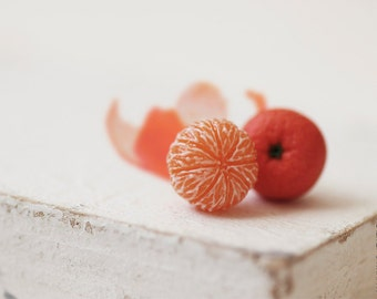Mandarin Stud Earrings - Small Ear Studs - Earrings Post - Food Jewelry - Vegan Earrings