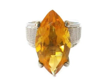 Retro Large Topaz Sterling Ring Size 8.5