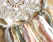 Aqua, white, metallic gold, pink upcycled doily dream catcher, fabric, ribbon, lace nursery bedroom decor