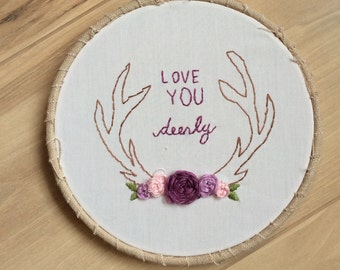Love you deerly hand embroidered wall hanging in purple tones, nursery bedroom decor, wall decor, Valentine's gift
