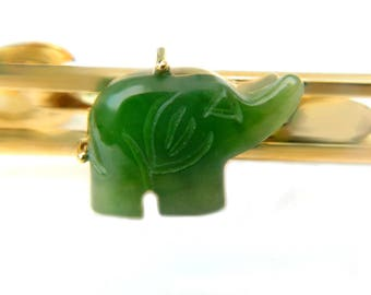 Green Chrysoprase 10K Gold Elephant Tie Clip Vintage 1960s Jewelry Accessory For Men Gift Idea For Husband 10K Gold Overlay Gift Idea
