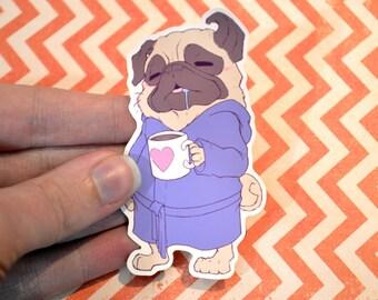 Sleepy Pug Vinyl Sticker