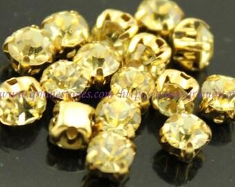 Sew on rhinestones Light Yellow Jonquil crystal gold claw 4mm 5mm