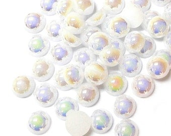 White AB Flat Back Pearl in 8mm / 5mm / 4mm/ 3mm