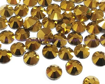 Metallic Gold Rhinestone 144pcs FlatBack Crystal Non Hotfix
