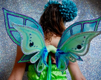 One off sparkly green and lilac adult fairy princess wings