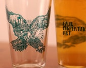 Philadelphia Eagle Illustration on Glassware -- Paul Carpenter Art -- Eagles Philly Beer Pint Glass
