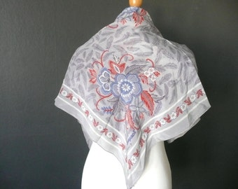 Vintage silk scarf -  vintage Jacqmar silk scarf - blue and grey silk scarf - feather design silk scarf - Jacqmar floral scarf