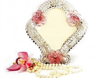 Vintage Venetian Murano Mirror, Italian Dressing Table Mirror, Ornate Pink Flowers Mirror ,Hanging Wall Murano Mirror