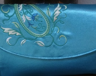 Turquoise Embroidered Satin Clutch