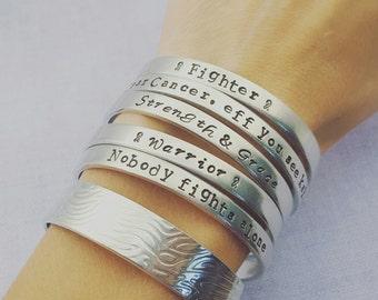 Cancer Bracelets, Fighter, Survivor, Handstamped Bracelet, Cancer Gift, Cancer Patient, Warrior, Strength and Grace, Cancer Jewelry