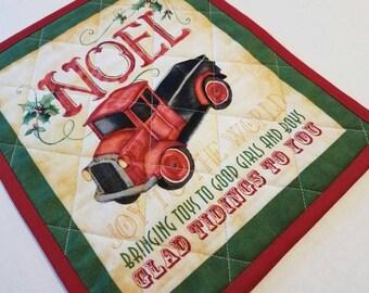 Vintage Red Truck Mug Rug, Snack Mat, Fabric Coaster, Candle Mat, Trivet, Secret Santa Gift, Hostess Gift, Holiday Home Decor, Winter, Noel