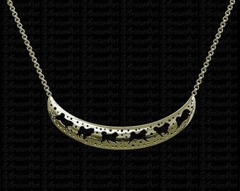 3D Samoyed crescent necklace - Gold