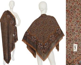 Yves Saint Laurent YSL Vintage XL Wool Scarf Floral Print Shawl Stole Wrap Brown
