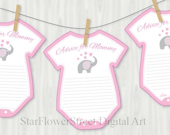 Baby Shower Advice baby advice cards cards Pink Elephant mom to be mommy to be pink gray printable cutout decorations creative cute