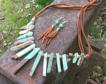 Green Chrysoprase & Deerskin Necklace with Earrings set
