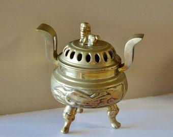 Brass, Vintage Brass, Incense Burner, China, Brass Incense Burner, Chinese Decor, Home Decor