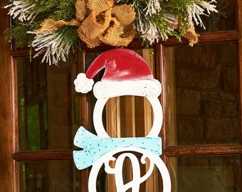 Unfinished Monogram Wooden Snowman with Cap & Scarf! Adorable for the Winter season!
