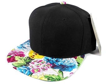 Custom Embroidery Blue, Yellow, Pink Hawaiian Bill Floral Hat Black Snapback