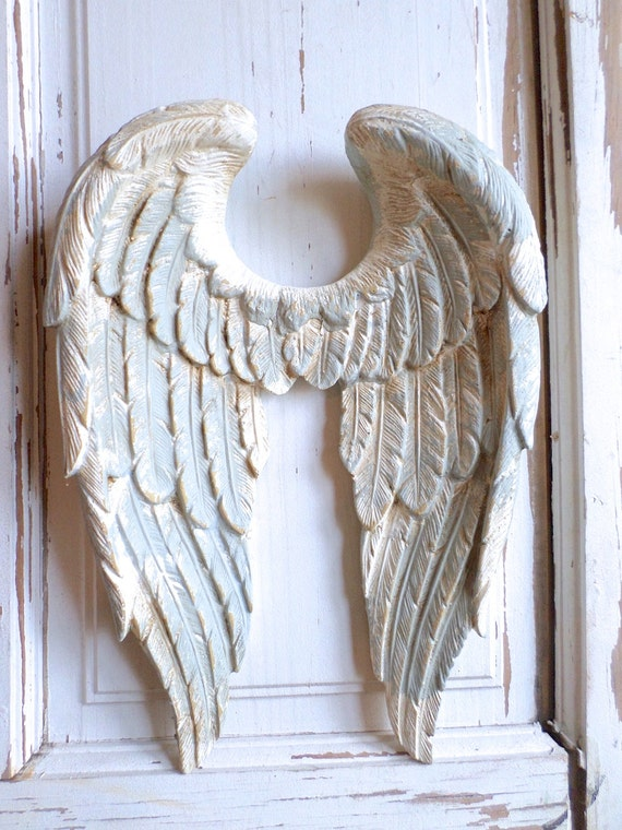 shabby chic angel wings vintage finish wall decor french. Black Bedroom Furniture Sets. Home Design Ideas