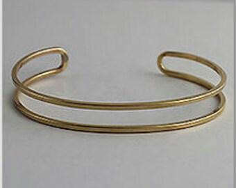 1 Brass Cuff, 9mm wide, Bracelet, Bangle, Cut out Cuff, Thin Cuff