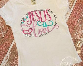 Jesus Loves You Valentine Shirt - Embroidered tee - Valentines custom shirt