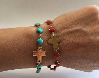 Beaded Cross Bracelet - turquoise bracelet - dark orange - cross and bead bracelet - holiday gift - christmas gift - bracelet