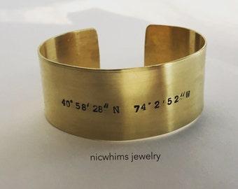 Wide brass cuff - wide sterling cuff - coordinates cuff - personalized brass cuff - Roman numerals cuff - quote cuff  - wide brass cuff