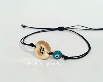 Armenian Charm Bracelet, evil eye charm bracelet, evil eye string bracelet, armenian intial, armenian jewelry, armenian charm bracelet