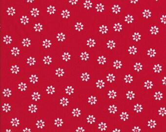Daisy Fabric - Sew Cherry 2 - Lori Holt Fabric - Riley Blake - Red Fabric