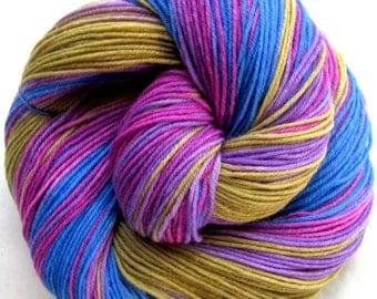 Sock Yarn Superwash Merino/Nylon 400 yds. Hand Painted Purple, Blue, Gold, Magenta