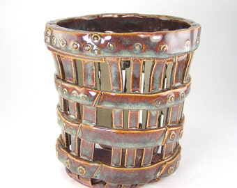 Barrel Orchid Planter, Brown Cachepot, Decorative Planter, Ceramic Luminary, Kitchen Utensil Holder, Pierced Orchid Pot, Indoor Pot 11-16-33