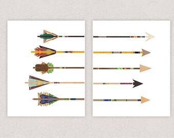 Arrow Prints - Poster Print Wall Decor - Set of Two Prints