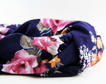 Navy Blue and Pink & Yellow Floral Jersey Knit Infinity Scarf