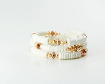White Shell Memory Wire Bracelet with Copper and Rose Gold Colored Glass Crystal Beads