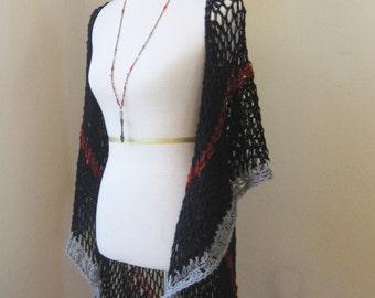 Black Red Grey Vest Boho Chic Feminine Vest Crochet Knit Handmade