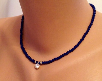 Crystal Dark Blue Dainty Crystal Necklace, Blue Necklace, Blue Jewelry, Wedding Jewelry, Trendy, Fashion WOMAN, Gift for Her, Chic Accessory