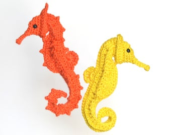 crochet pattern Post-Modern Post-Stitch Seahorse, with variation, downloadable PDF small stuffed animal, ocean life amigurumi fish adorable