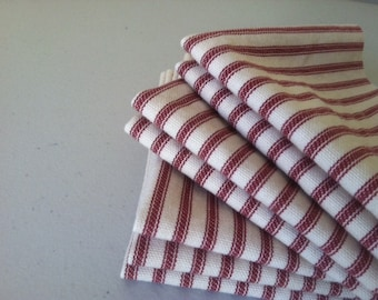 Red Ticking Cloth Napkins, 15 inch, by CHOW with ME